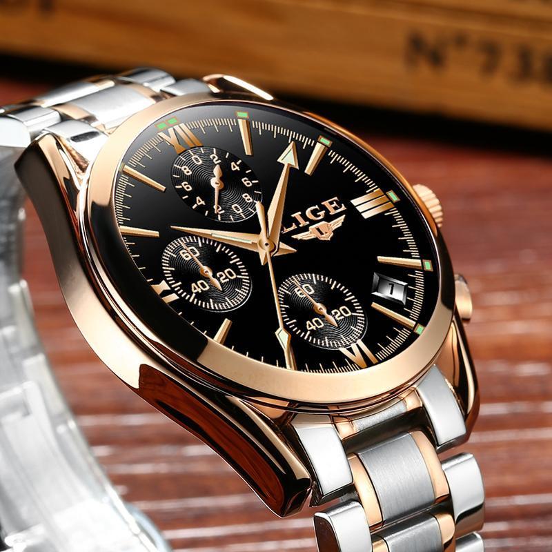 レロジオmasculino lige男性トップの高級ブランドの軍事スポーツ腕時計メンズクォーツ時計男性フル鋼カジュアルビジネスゴールド時計_画像1