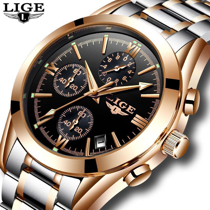 レロジオmasculino lige男性トップの高級ブランドの軍事スポーツ腕時計メンズクォーツ時計男性フル鋼カジュアルビジネスゴールド時計_画像2