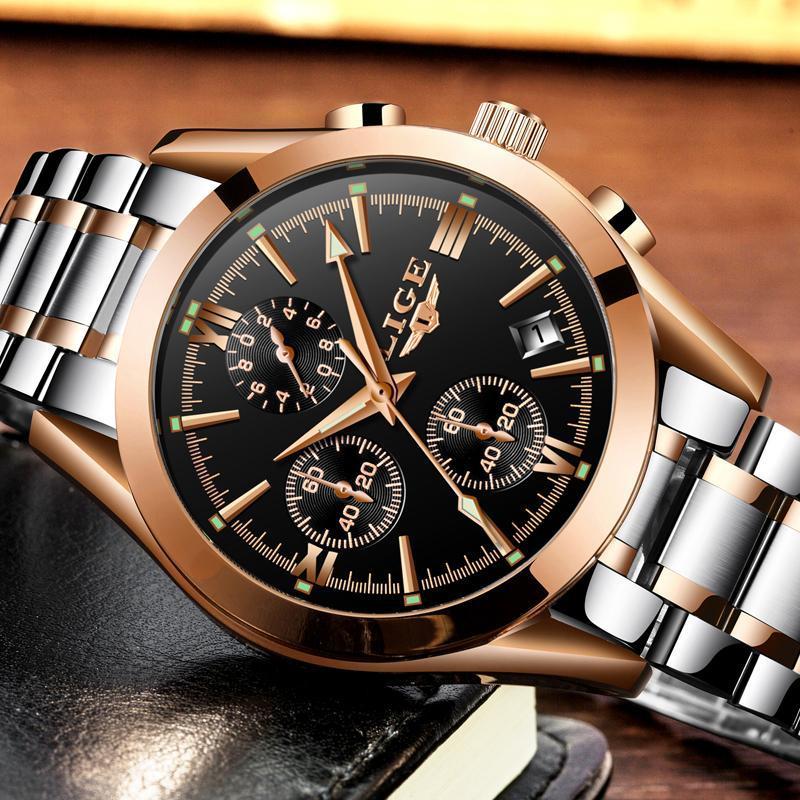 レロジオmasculino lige男性トップの高級ブランドの軍事スポーツ腕時計メンズクォーツ時計男性フル鋼カジュアルビジネスゴールド時計_画像3