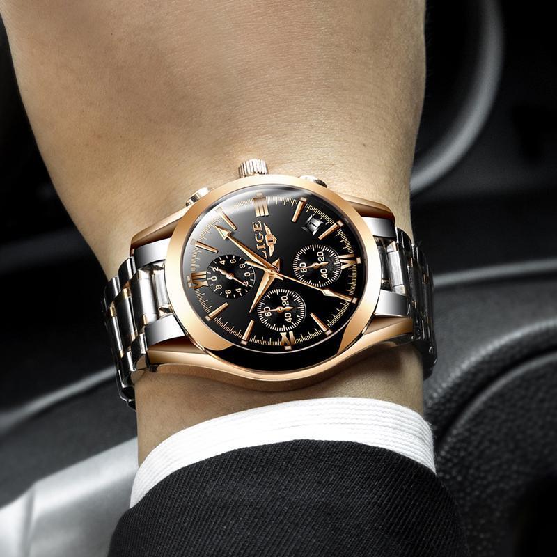 レロジオmasculino lige男性トップの高級ブランドの軍事スポーツ腕時計メンズクォーツ時計男性フル鋼カジュアルビジネスゴールド時計_画像5