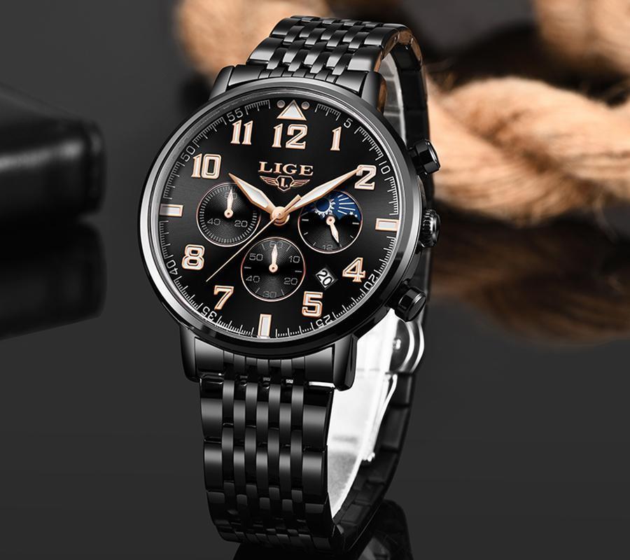 2019ファッションメンズ腕時計ligeトップブランドの高級時計男性スポーツフルスチール防水クォーツ時計ドレス腕時計レロジオmasculino_画像2