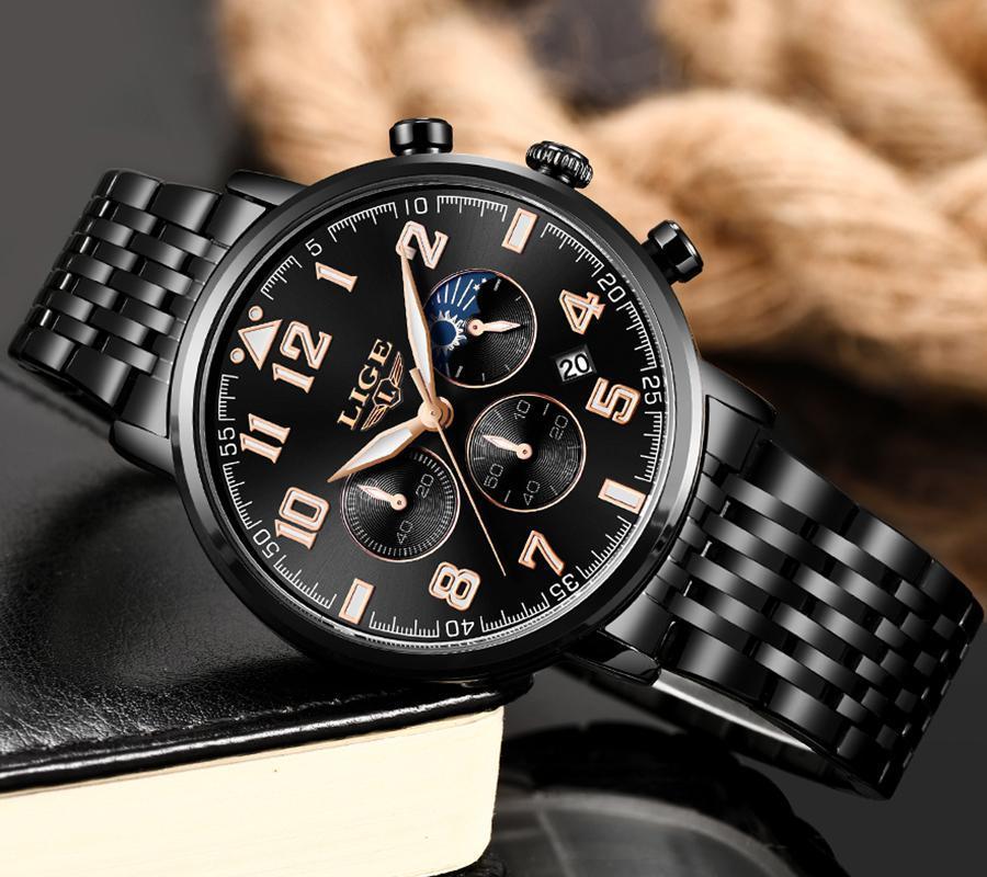 2019ファッションメンズ腕時計ligeトップブランドの高級時計男性スポーツフルスチール防水クォーツ時計ドレス腕時計レロジオmasculino_画像3