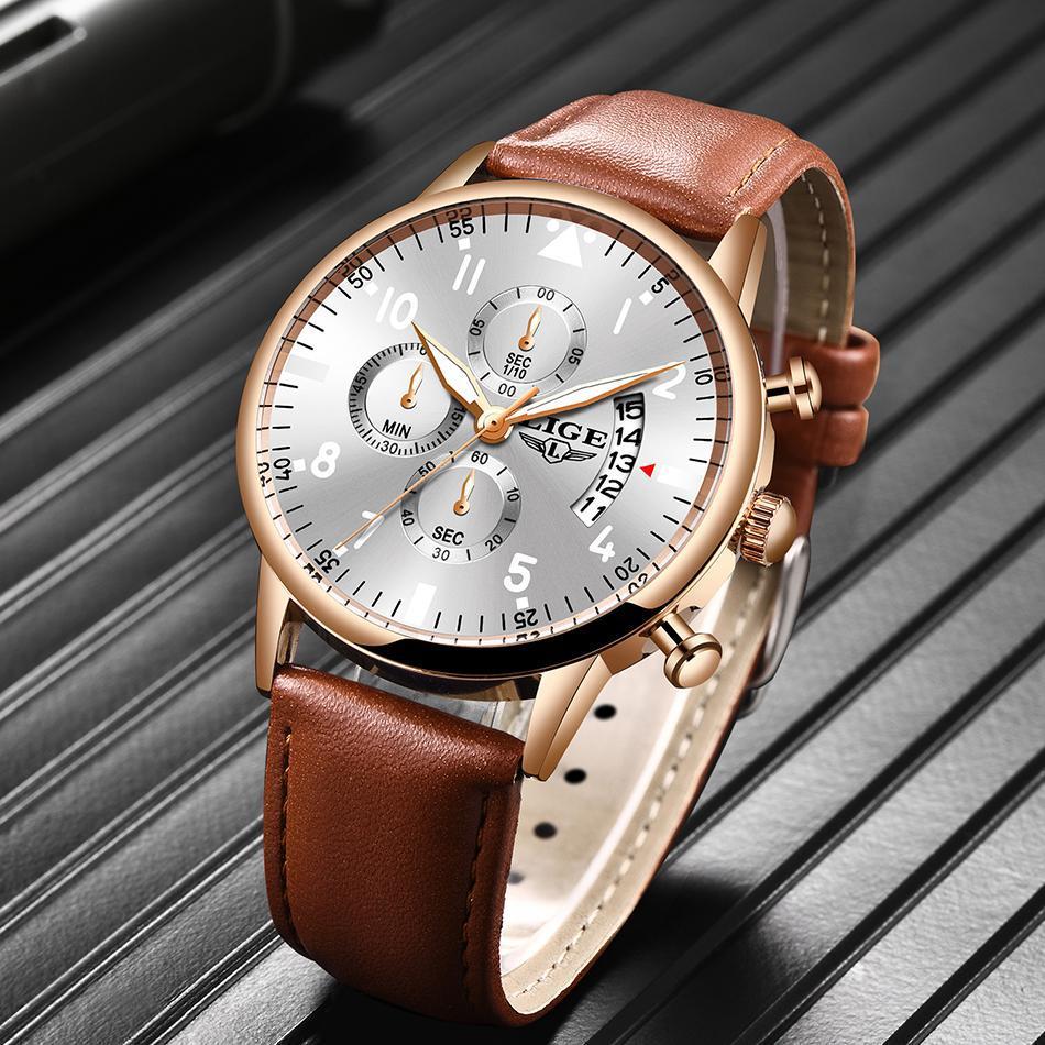 2020 ligeメンズ腕時計トップブランドの高級防水24時間日付クォーツ時計男性腕時計レロジオmasculino_画像3