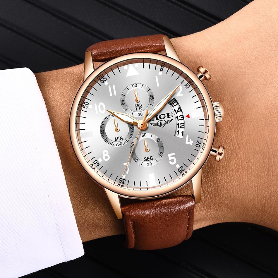 2020 ligeメンズ腕時計トップブランドの高級防水24時間日付クォーツ時計男性腕時計レロジオmasculino_画像5