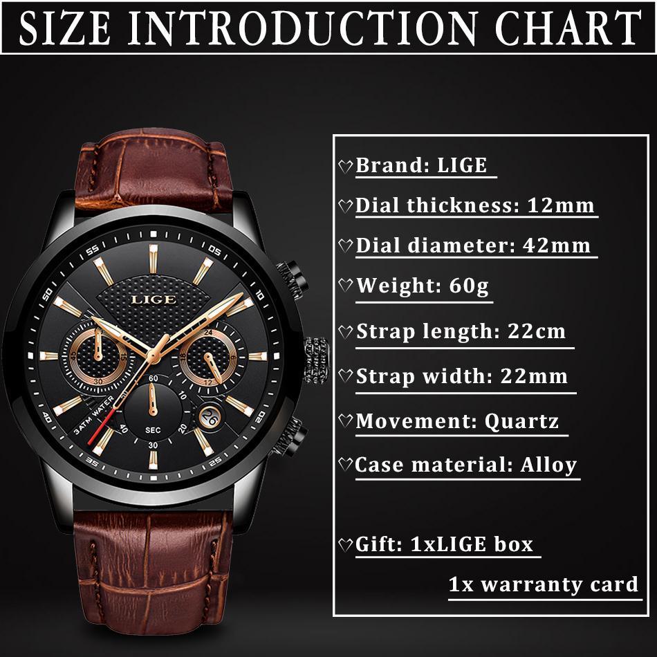 Lige 2020新メンズ腕時計トップブランドの高級男性ミリタリースポーツ腕時計メンズレザー防水クォーツ腕時計レロジオmasculino_画像2