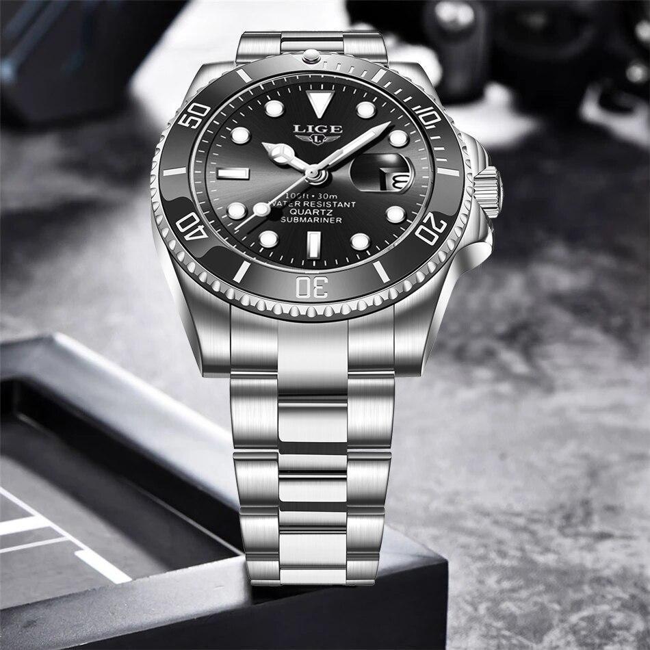 Ligeトップブランドの高級ファッション新メンズ腕時計30ATM防水日付時計男性スポーツ腕時計メンズクォーツ腕時計レロジオmasculino_画像3