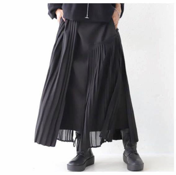 アンティカantiqua・完売!常識を覆す。アシメ切替えのプリーツ。モードプリーツスカート