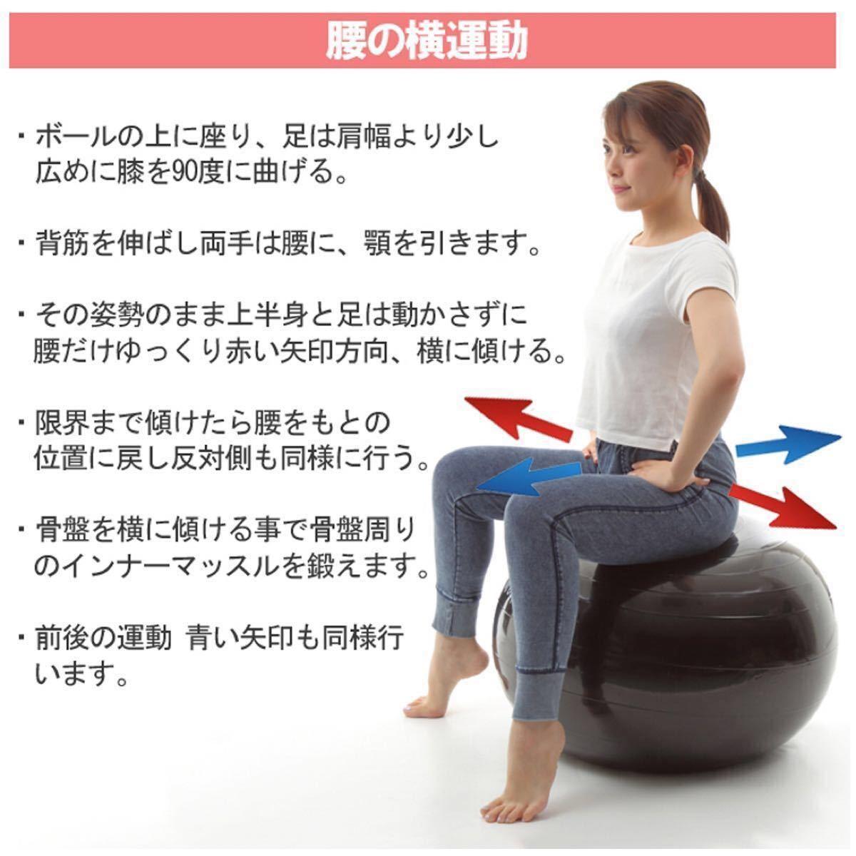 バランスボール 65cm エクササイズ ヨガ フィットネスボール 体幹トレーニング