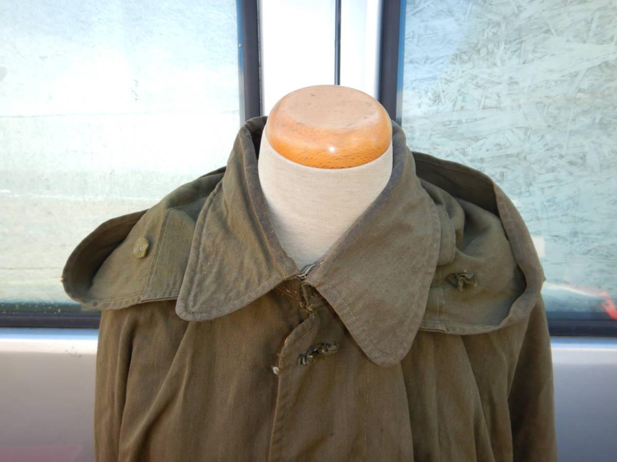 ②戦前 戦中 日本陸軍 陸軍 日本軍 将校 士官 尉官 外套 将校用外套 マント 防寒マント フード付き 軍装品 当時もの_画像2