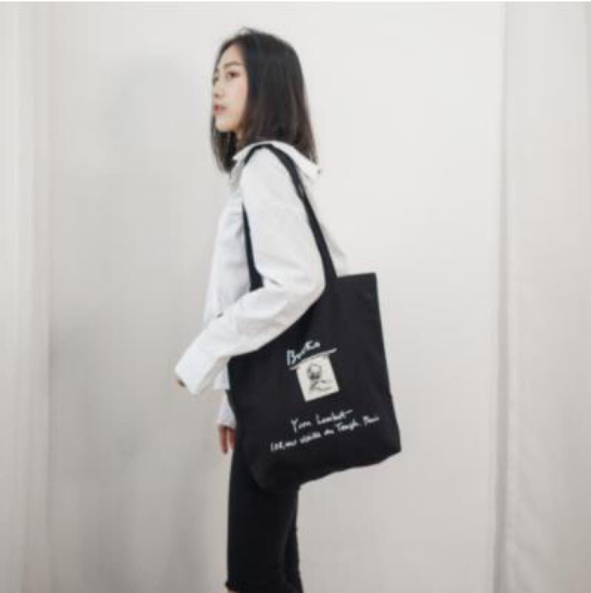 【ブラック キャンバスバッグ】トートバッグ  刺繍 A4 内ポケ 韓国 黒 ショッピングバッグ サブバッグ エコバッグ ブラック