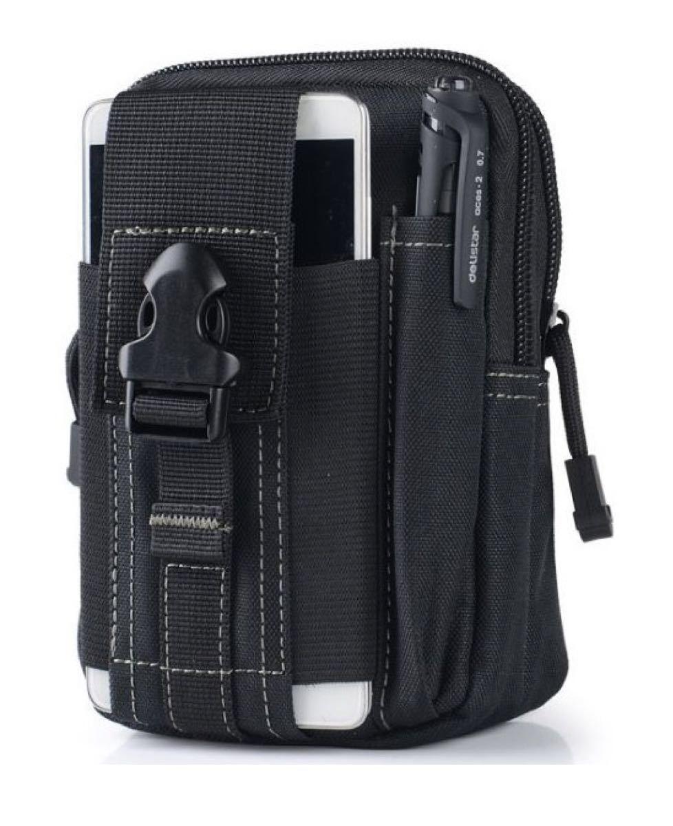 ウエストポーチ マルチコンパクトガジェットポーチ ブラック 黒 ブラック ポケット 内ポケット スマホ用 リュック リュック対応