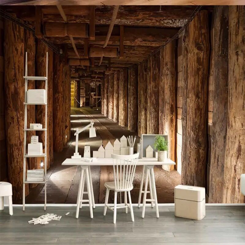 現代の創造的な 3D 木材ビッグツリー拡張スペース壁画壁紙リビングルームベッドルームのテレビの背景の壁の装飾 3D 壁布_画像1
