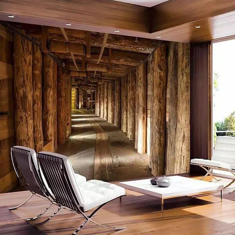 現代の創造的な 3D 木材ビッグツリー拡張スペース壁画壁紙リビングルームベッドルームのテレビの背景の壁の装飾 3D 壁布_画像2
