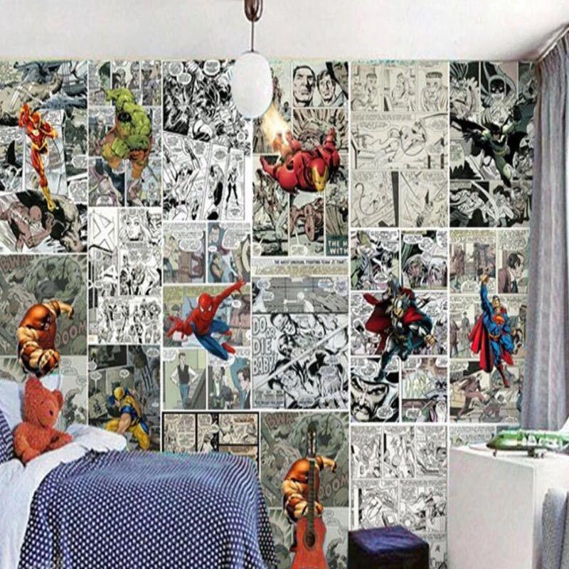 ジョイントレスカスタム3D壁紙壁画コミック3D子供ルームのテレビの背景の壁の装飾紙_画像2