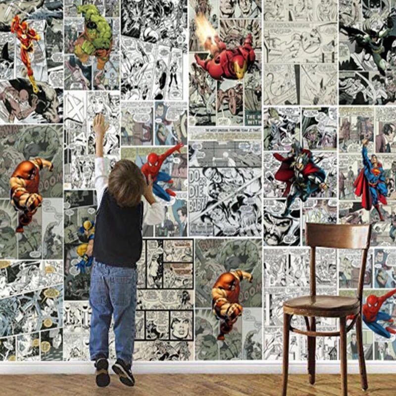 ジョイントレスカスタム3D壁紙壁画コミック3D子供ルームのテレビの背景の壁の装飾紙_画像1