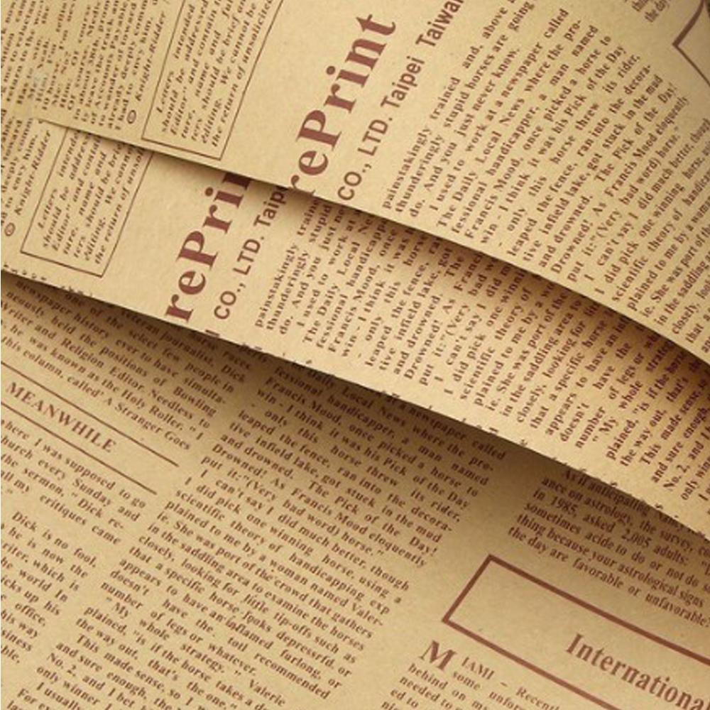 英字新聞紙柄 包装紙 ラッピング用品 ラッピングペーパー 40枚 紙 ギフトラッピング 包装資材 梱包材 贈り物 プレゼント誕生日 茶文字_画像2