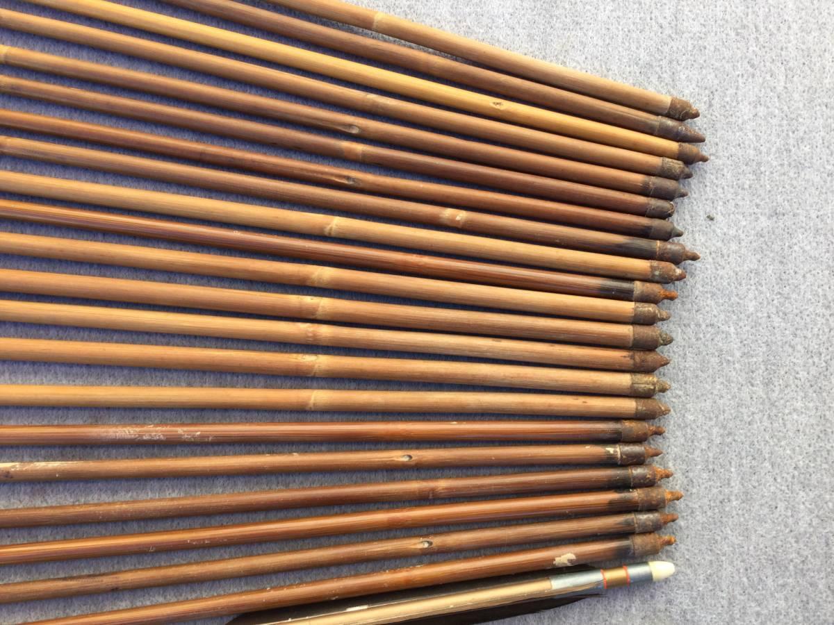 【杏】古い弓道道具「竹やカーボンの矢 35本まとめて」(検索弓具藤弦巻ゆかけ矢筒羽根ギリ粉)_画像8