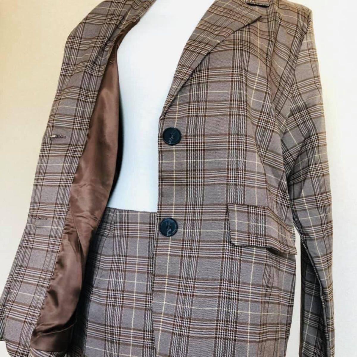 レディース スーツ2点セット チェック柄 タイトスカート テーラードジャケット Lサイズ