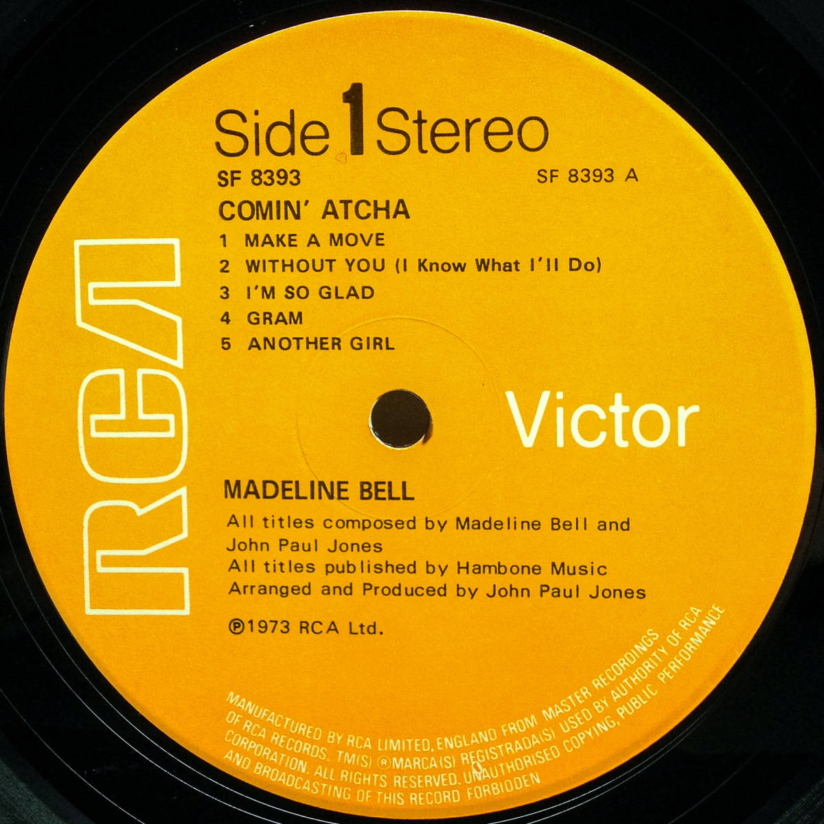 [LP] '73英Orig / OIS付き / RCA Victor / SF 8393 / Madeline Bell / Comin' Atcha / Soul / Funk