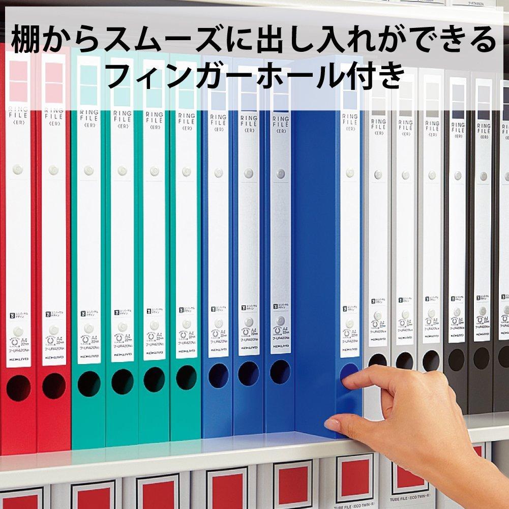 【新品】コクヨ リングファイル ER 丸型 2穴 A4縦 背幅39mm PP表紙 赤 フ-UR430NR 1セット(10冊)_画像8