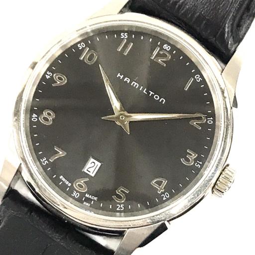 ハミルトン デイト クォーツ 腕時計 H.385110 メンズ 黒文字盤 メンズ 純正ベルト/尾錠 HAMILTON QN015-98