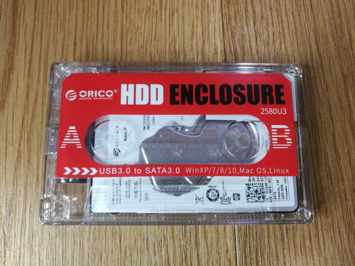 【B026】送料無料 HDD 1TB SATA 2.5インチ 5400rpm 7mm USB3.0 ( SEAGATE ST1000LM035 カセットテープ 透明ケース 正常品 空と鈴 )