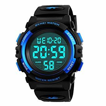 ▼▽▲1-ブルー 子供腕時計 男の子 デジタル腕時計 ボーイズスポーツウォッチ アウトドア多機能50m防水 アラート 日付曜日表_画像1