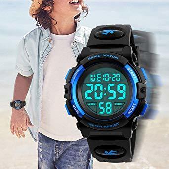 ▼▽▲1-ブルー 子供腕時計 男の子 デジタル腕時計 ボーイズスポーツウォッチ アウトドア多機能50m防水 アラート 日付曜日表_画像2