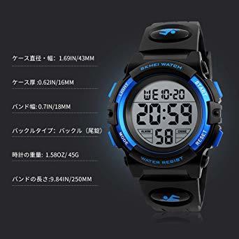 ▼▽▲1-ブルー 子供腕時計 男の子 デジタル腕時計 ボーイズスポーツウォッチ アウトドア多機能50m防水 アラート 日付曜日表_画像7