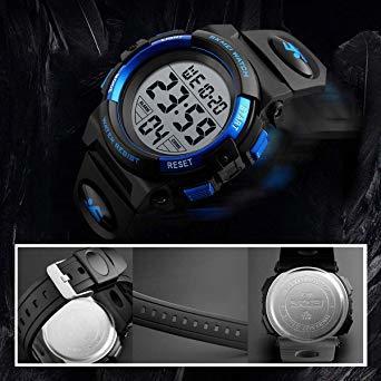 ▼▽▲1-ブルー 子供腕時計 男の子 デジタル腕時計 ボーイズスポーツウォッチ アウトドア多機能50m防水 アラート 日付曜日表_画像4