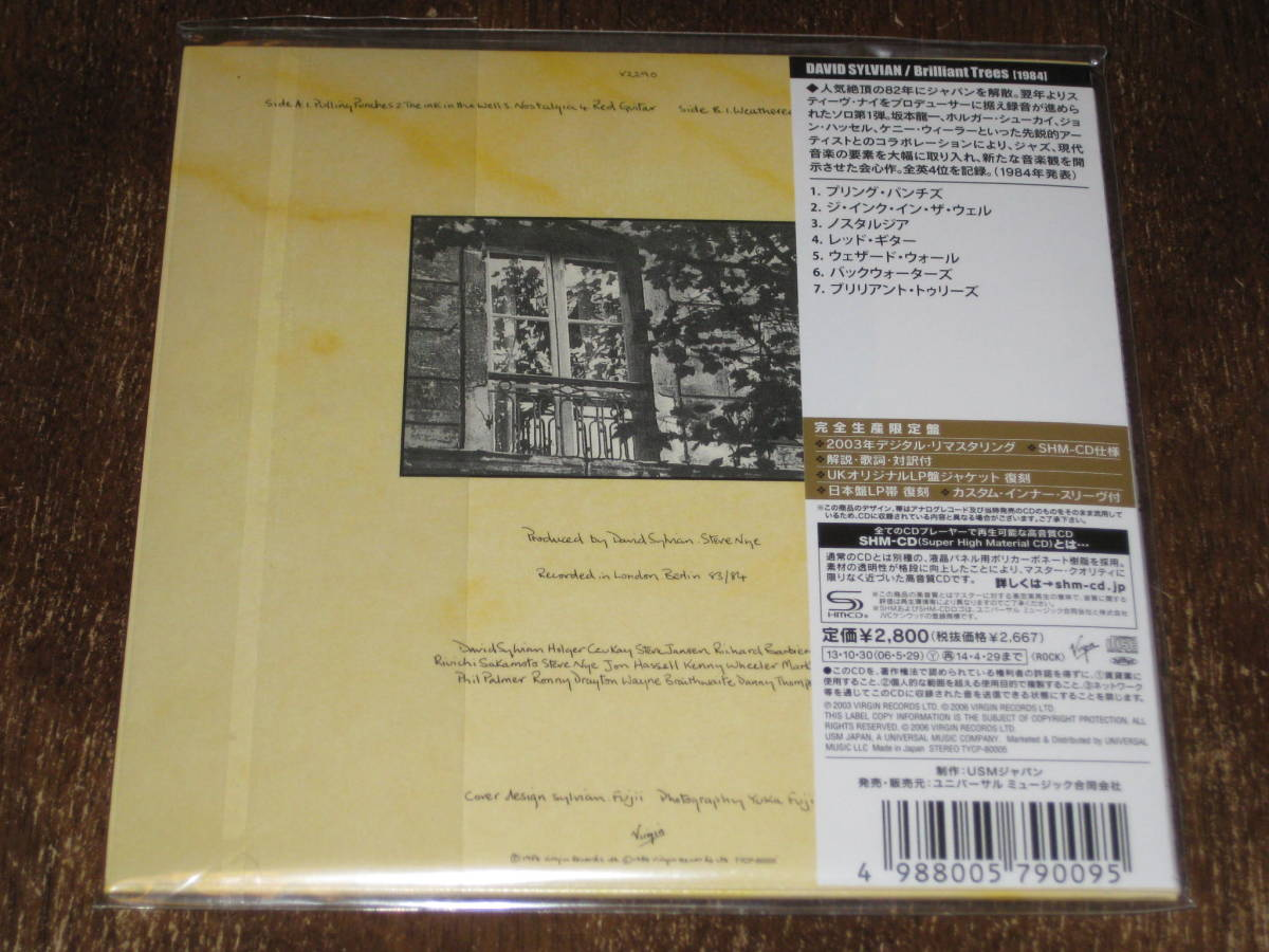 DAVID SYLVIAN デイヴィッド・シルヴィアン / ブリリアント・トゥリーズ 2003年リマスター 紙ジャケ 2013年発売 SHM-CD 国内帯有