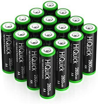 単3形充電池 2800mAh 16本パック HiQuick 単三電池 充電式 ニッケル水素電池 高容量2800mAh ケース4個_画像1