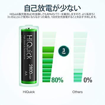 単3形充電池 2800mAh 16本パック HiQuick 単三電池 充電式 ニッケル水素電池 高容量2800mAh ケース4個_画像2