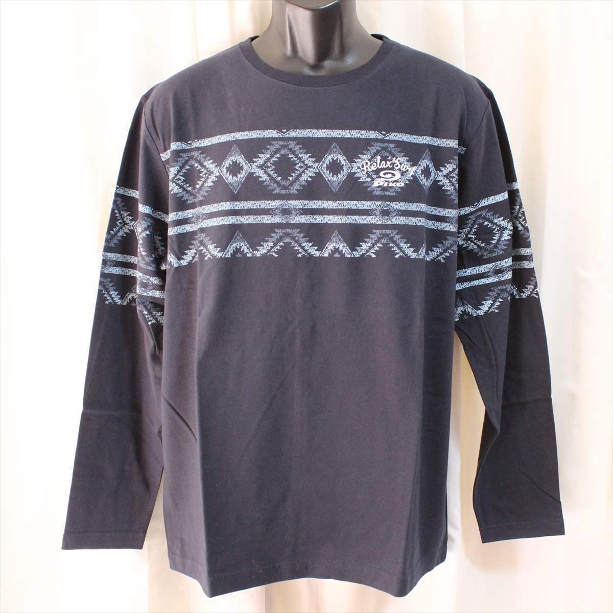 ピコ PIKO メンズ長袖Tシャツ ネイビー XXXLサイズ 新品 サーフ ハワイアン 紺_画像1