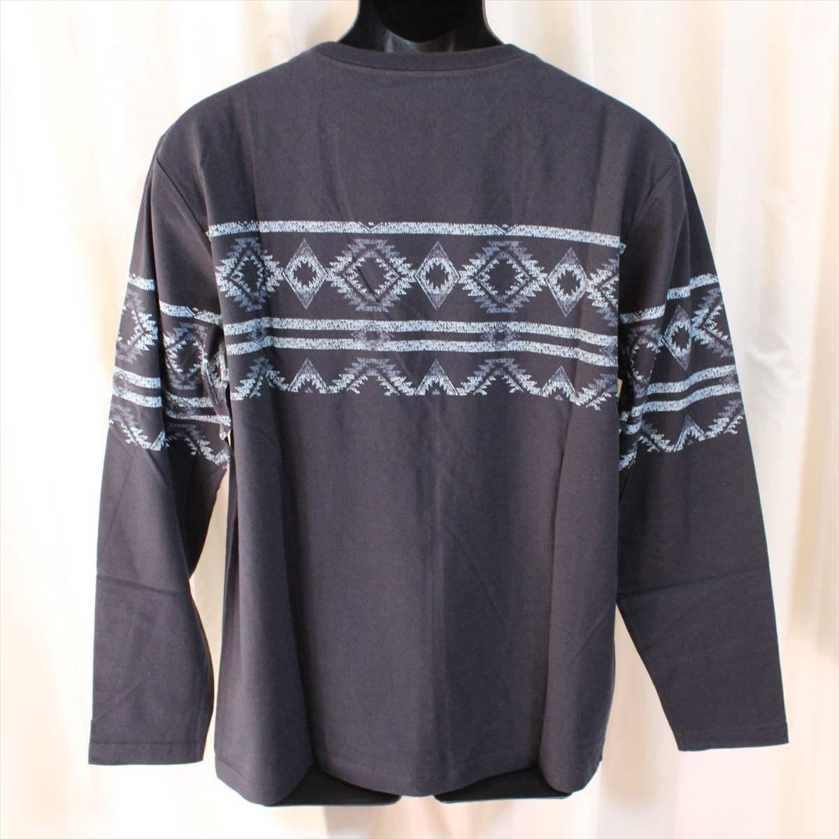 ピコ PIKO メンズ長袖Tシャツ ネイビー XXXLサイズ 新品 サーフ ハワイアン 紺_画像3