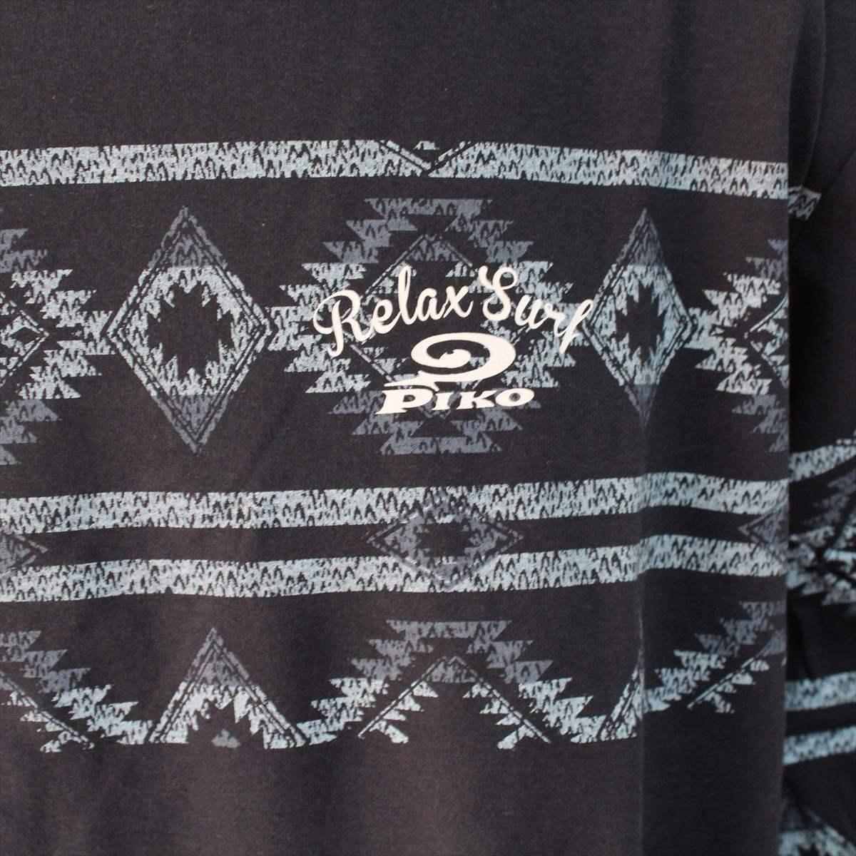 ピコ PIKO メンズ長袖Tシャツ ネイビー XXXLサイズ 新品 サーフ ハワイアン 紺_画像2