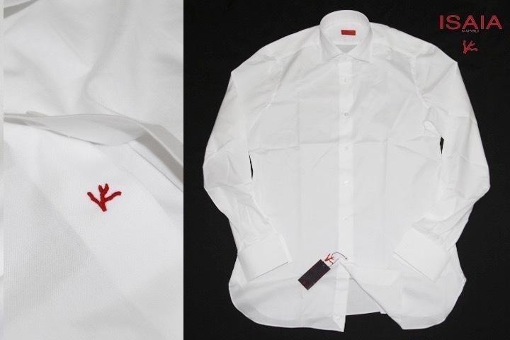 8万◎ISAIA イザイア【洒落男の必需品】Wカフス ワイドカラー◆何枚でも欲しい 白シャツ◇