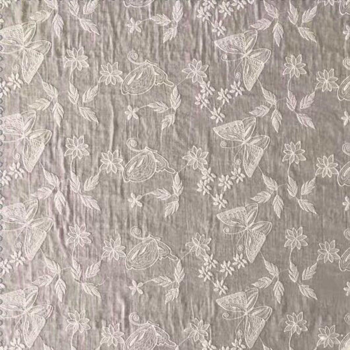 A033 綿100% カット 蝶々柄 刺繍 綿レース生地130cm*45cm