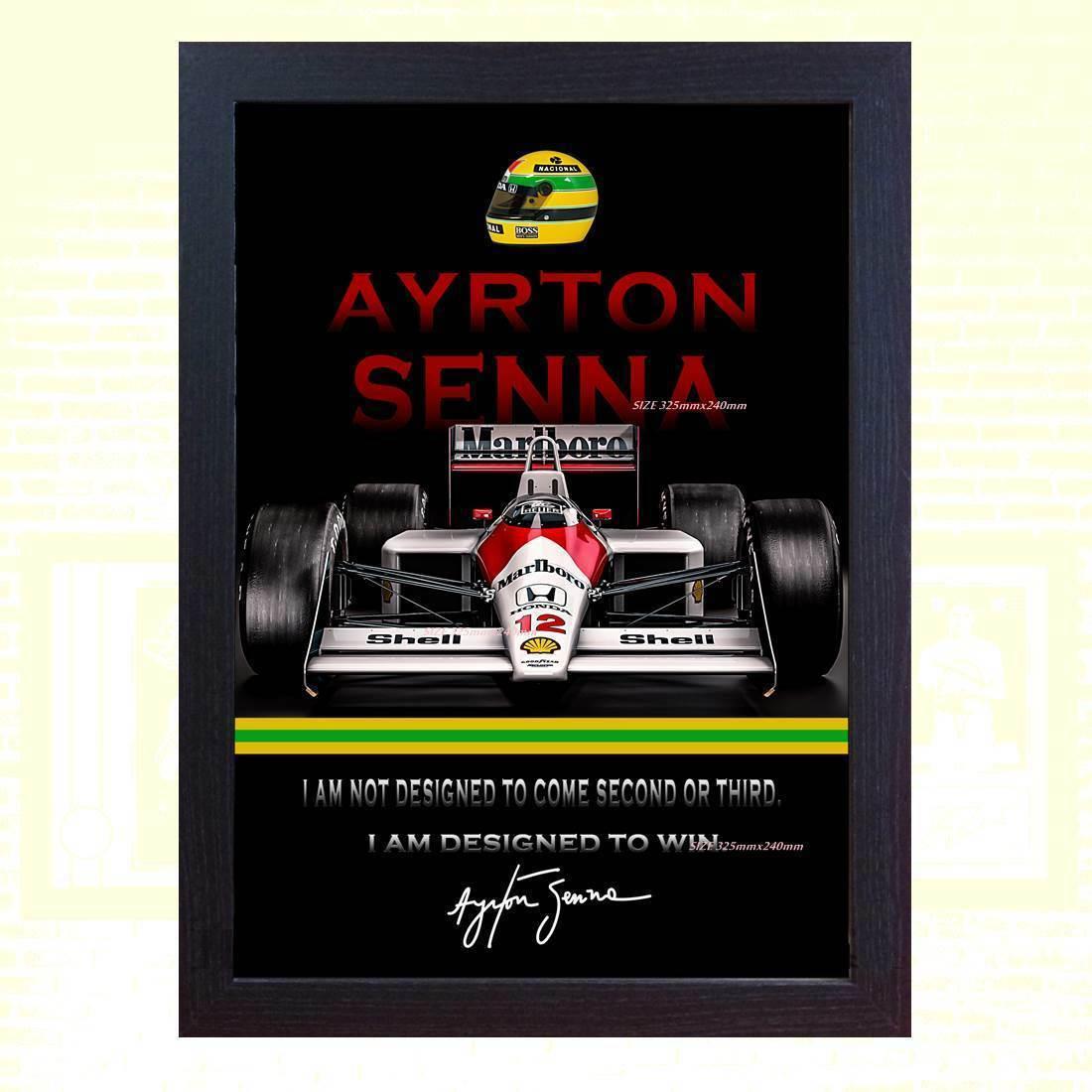 海外 限定 送料込み アイルトン・セナ F1 フレームディスプレイ 複製サイン_画像1