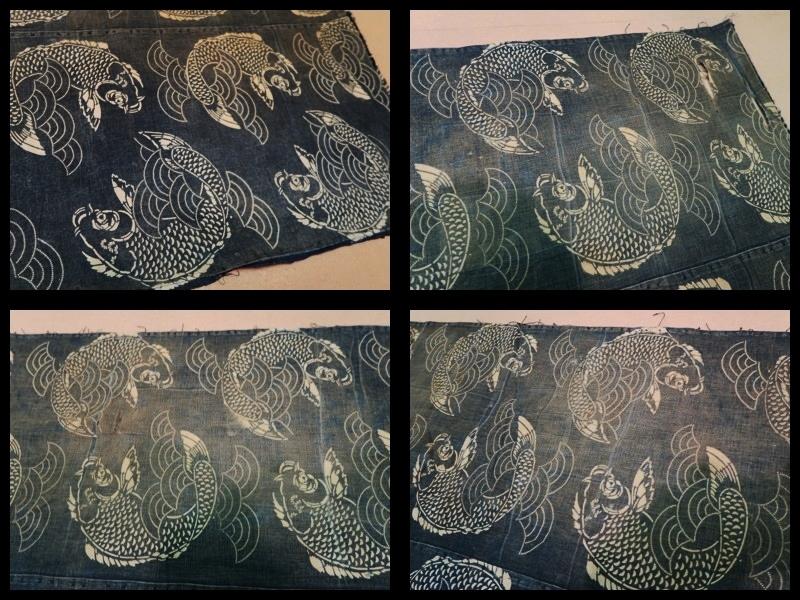 ◆藍染木綿 鯉文様 型染 二幅◆ 型染絵絣筒描幟旗風呂敷夜着油単布団皮古民芸襤褸ボロ庄内刺子_画像4