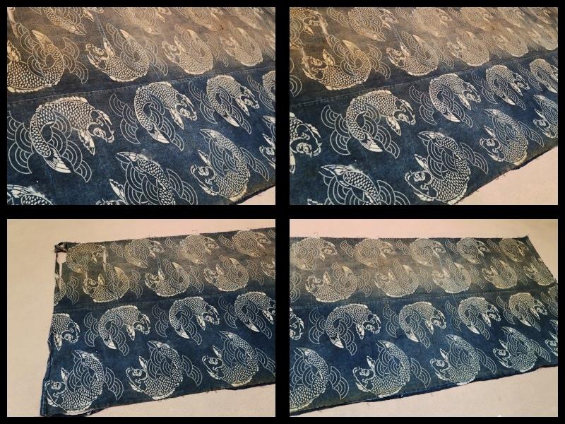 ◆藍染木綿 鯉文様 型染 二幅◆ 型染絵絣筒描幟旗風呂敷夜着油単布団皮古民芸襤褸ボロ庄内刺子_画像2