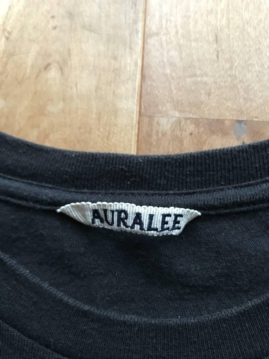 AURALEE オーラリー クルーネックTシャツ カットソー size3 BLACK シームレス 丸胴 半袖Tee