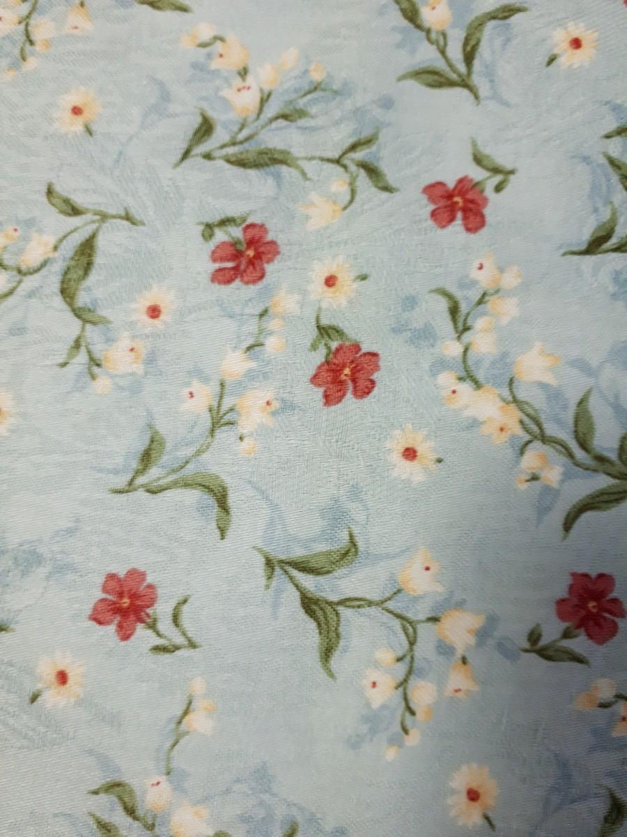 水色 花柄 織り柄 生地 90×200cm レトロ 手芸 ハンドメイド 裁縫 布 はぎれ パッチワーク