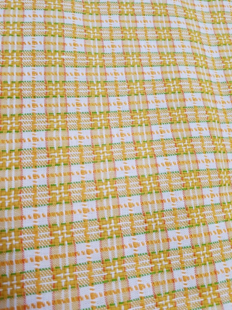 黄色チェック柄生地 110×60cm 布 はぎれ ハンドメイド 手芸 裁縫