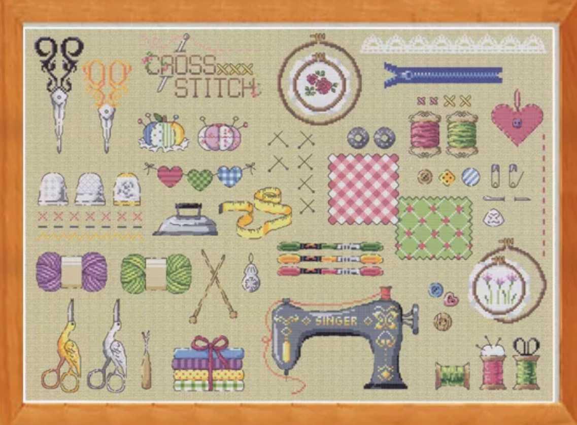 クロスステッチキット◆ソーイング かわいい洋裁道具◆刺繍キット 14カウント ハンドメイド ナチュラル
