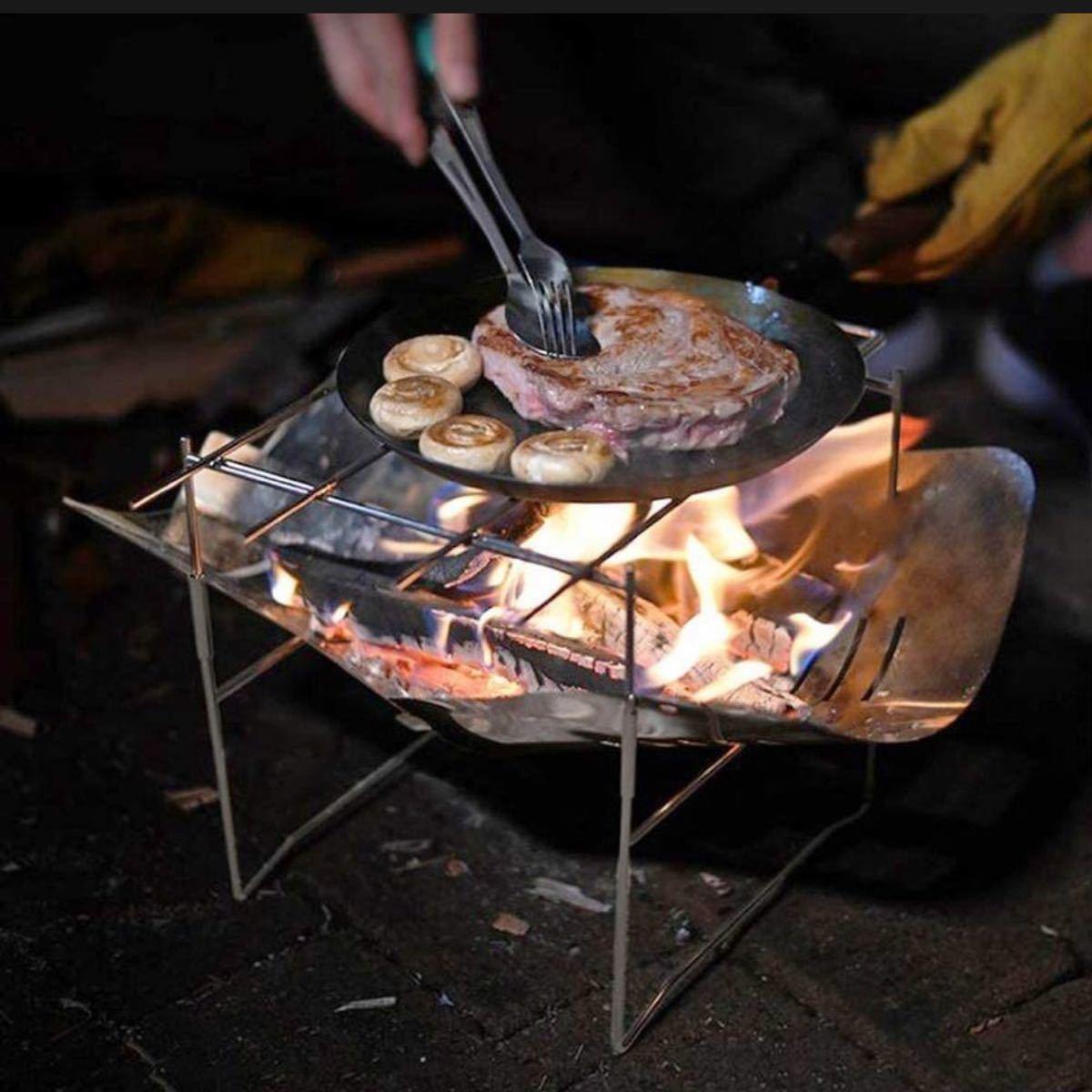 焚き火台  キャンプ たきび台 バーベキューコンロ 折りたたみ超軽量 收納袋付
