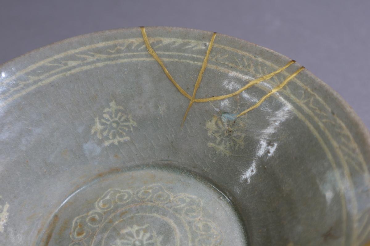 高麗青磁 象嵌花文鉢 朝鮮古陶磁 / 金継ぎの美_画像5