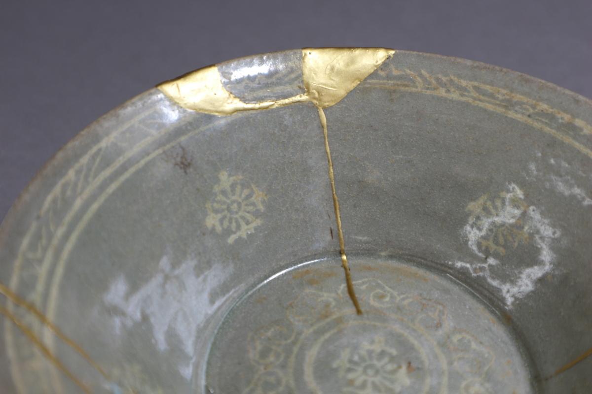 高麗青磁 象嵌花文鉢 朝鮮古陶磁 / 金継ぎの美_画像3