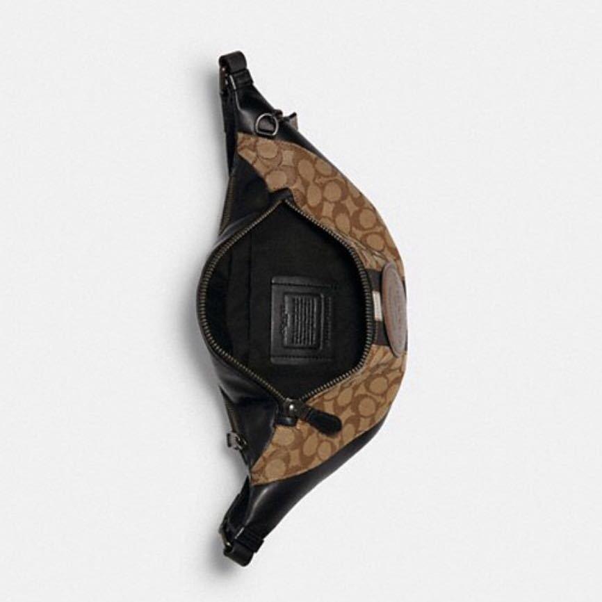 コーチ ボディバッグ メンズ COACH ショルダーバッグ ウエストポーチ 斜めがけ シグネチャー レザー ブラック 新品 正規品 ブランド
