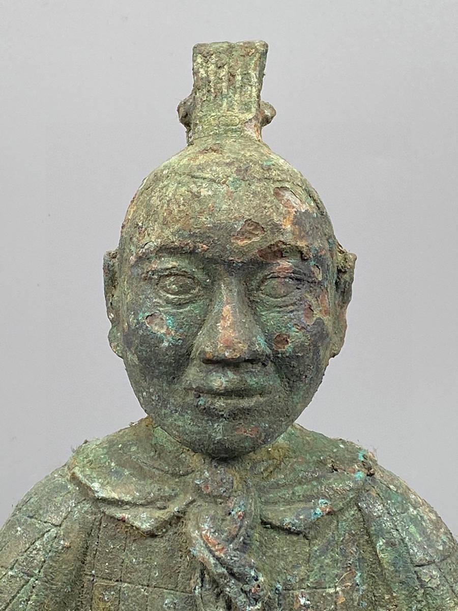 ◆0685◆コレクター放出 漢代 青銅器人俑兵馬俑 重さ1395g 長さ8cm 横幅13cm 高さ23cm_画像2